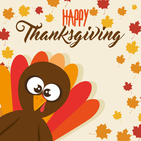 happy thanksgiving day turkey with autumn leaves vector illustration graphic design Stock Vector - 88393179