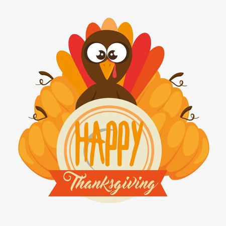 gelukkige thanksgiving day Turkije met de herfst verlaat vectorillustratie grafisch ontwerp Stock Illustratie