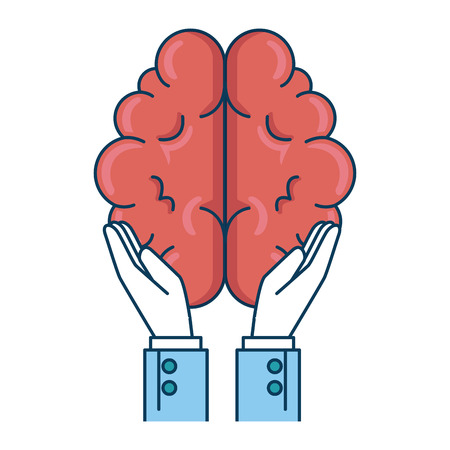 hands with brain organ isolated icon vector illustration design