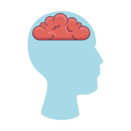 user profile with brain silhouette avatar icon vector illustration design