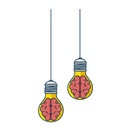 bulbs light with brains hanging icon vector illustration design