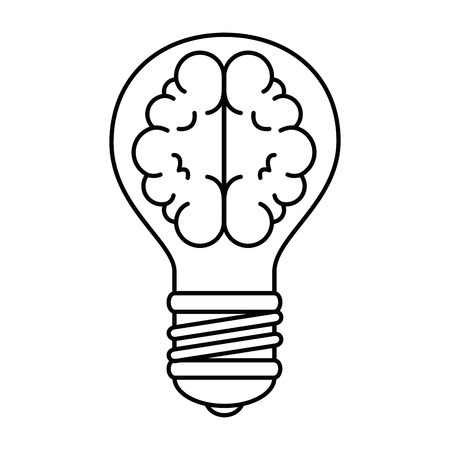 bulb light with brain vector illustration design Ilustracja