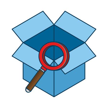 Scatola con progettazione dell'illustrazione di vettore dell'icona isolata lente d'ingrandimento Archivio Fotografico - 88397707