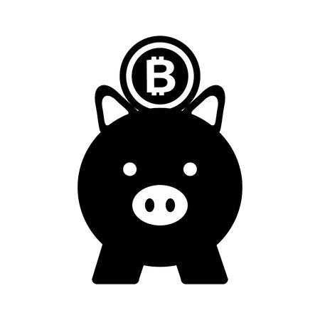 business piggy and bitcoin safety money vector illustration Ilustração