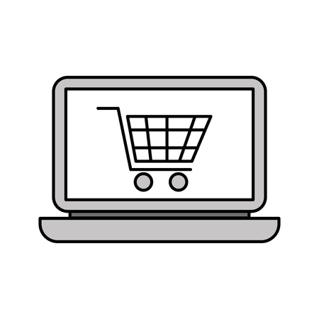 laptop computer cart shopping online order vector illustration
