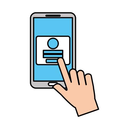 ハンドタッチ携帯電話のウェブページログインセキュリティベクトルイラスト