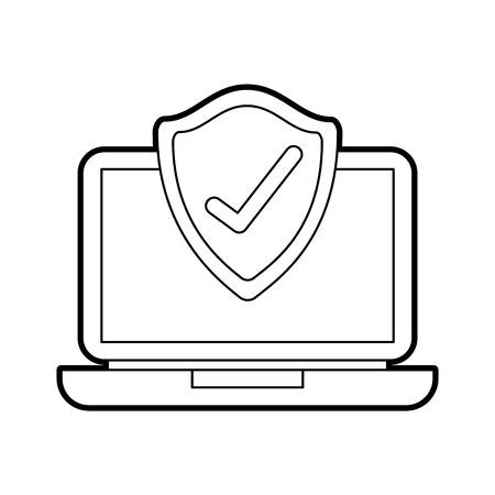 ラップトップ シールド保護チェック マーク画面デジタル データ ベクトル イラスト