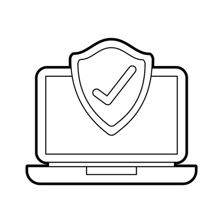 laptop shield protection checkmark screen digital data vector illustration