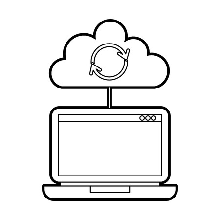 laptop cloud computing refresh data storage vector illustration Illustration