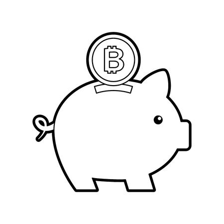bitcoin piggy bank saving cryptocurrency money concept vector illustration