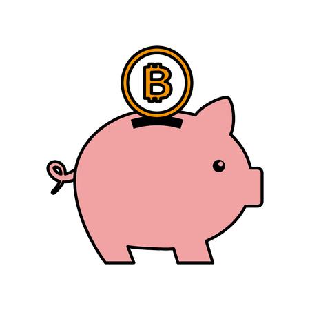 bitcoin 돼지 저금통 cryptocurrency 돈 개념 벡터 일러스트 저장
