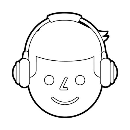 portret jonge man met hoofdtelefoon apparaat vectorillustratie Stock Illustratie