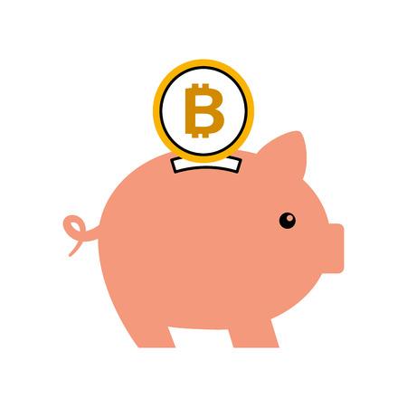 ビットコインピギー銀行保存暗号通貨のお金の概念ベクトルイラスト