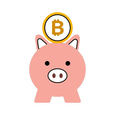 비즈니스 돼지와 bitcoin 안전 돈 벡터 일러스트 레이션 일러스트