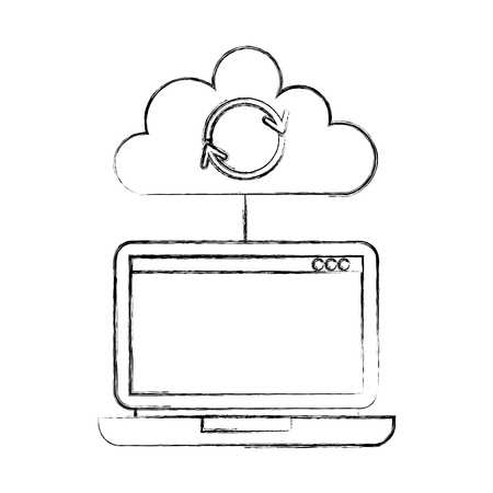 laptop cloud computing refresh data storage vector illustration Illustration