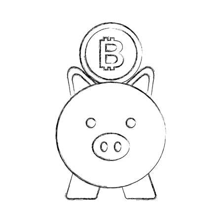 business piggy and bitcoin safety money vector illustration Illustration
