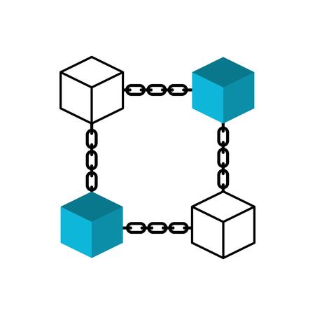 블록 체인 비즈니스 기술 개념 디지털 벡터 일러스트 레이션