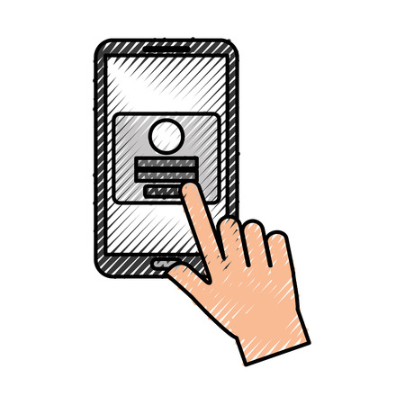 hand touch mobile phone webpage login security vector illustration