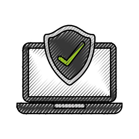 laptop shield protection checkmark screen digital data vector illustration