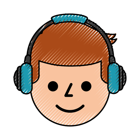 portrait young man with headphones device vector illustration
