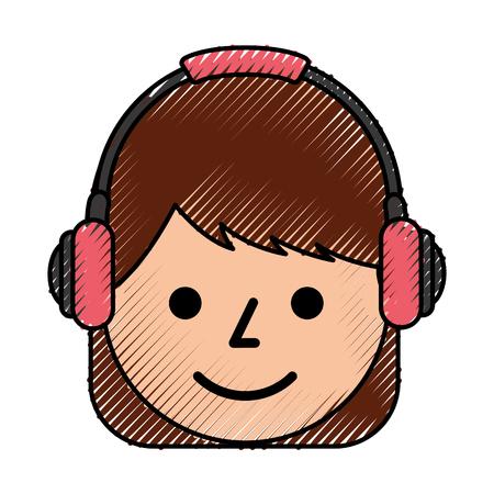 jong meisje glimlachend met een hoofdtelefoon luisteren geluid vectorillustratie