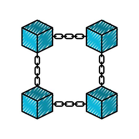 ブロック チェーン ビジネス技術概念のデジタル ベクトル図  イラスト・ベクター素材