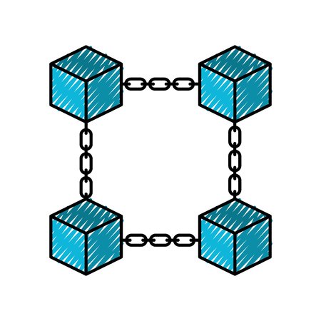 block chain business technology concept digital vector illustration Ilustracja