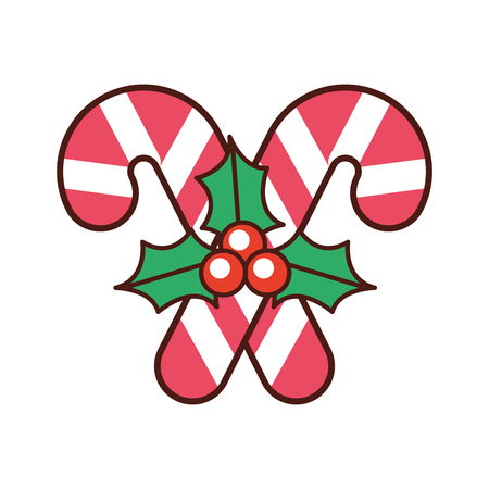 christmas candy cane berry leaves decoration vector illustration