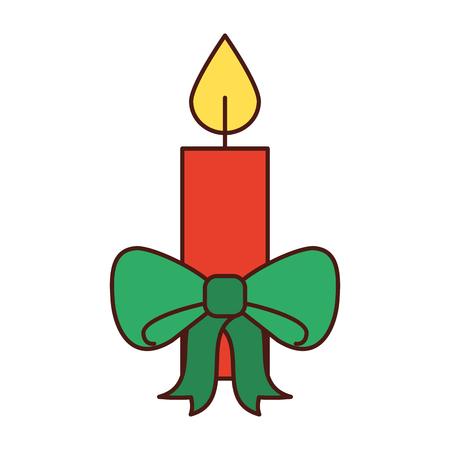 クリスマス キャンドル緑ボー燃焼お祝い装飾ベクトル図