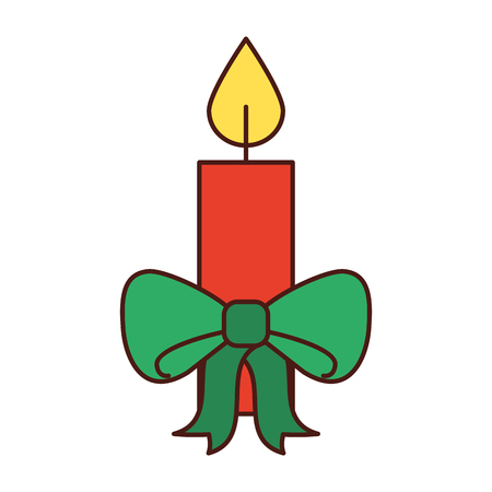 christmas candle green bow burning celebration decoration vector illustration
