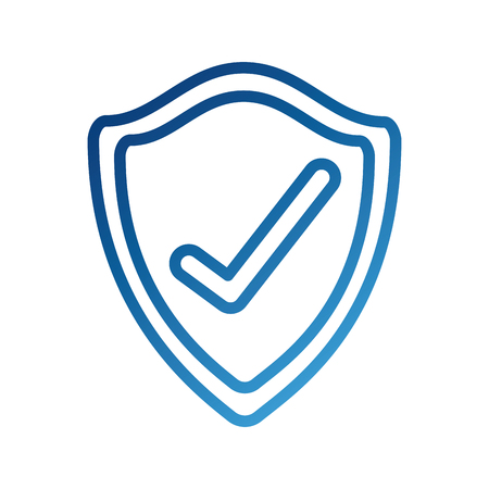 shield checkmark protect security insignia technology vector illustration