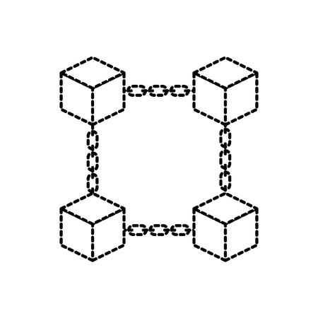 block chain business technology concept digital vector illustration Illustration