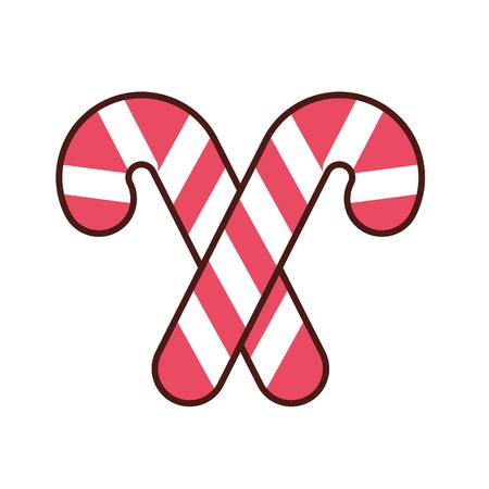 christmas two candy cane mint sweet vector illustration Ilustração