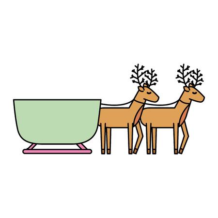 reindeer pulling christmas sledge traditional image vector illustration