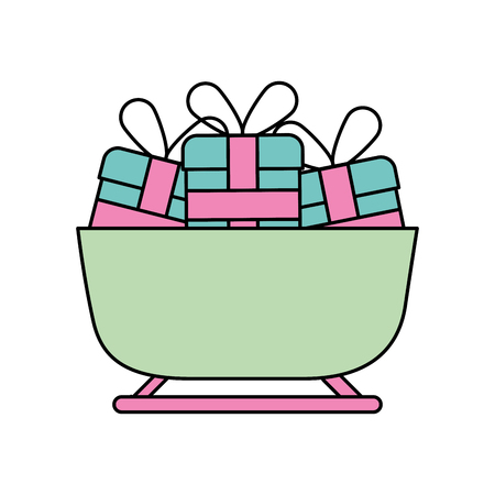 Noël luge pleine cadeaux boîte décoration illustration vectorielle Banque d'images - 88403609