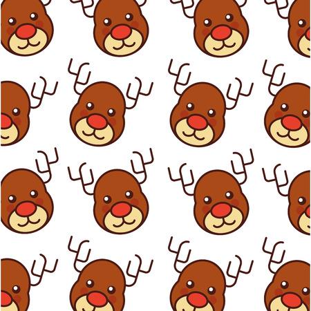 christmas reindeer animal horned funny vector illustration