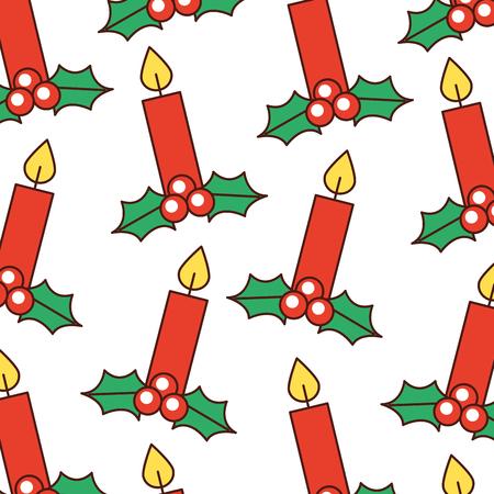 クリスマスのお祝いの装飾ベクトル図で燃えているろうそく