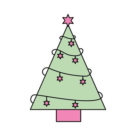 christmas tree pine star decoration ornament design vector illustration