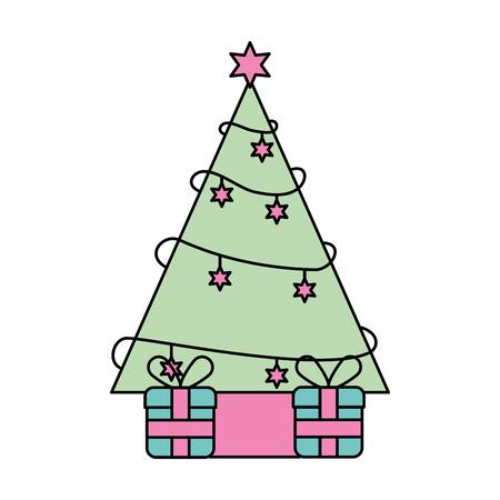 christmas tree pine gifts box celebration festive vector illustration