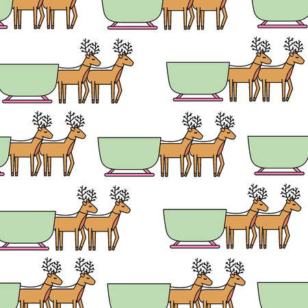 rendier trekken Kerstmis slee naadloze patroon afbeelding vectorillustratie Stock Illustratie