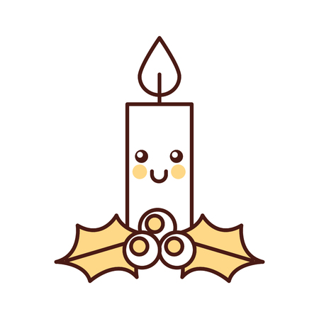 kawaii christmas candle funny cartoon celebration vector illustration