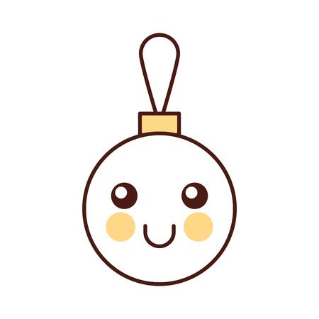 eye ball: kawaii christmas ball decoration cartoon vector illustration