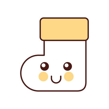 kawaii 크리스마스 양말 행복 만화 벡터 일러스트 레이션 일러스트