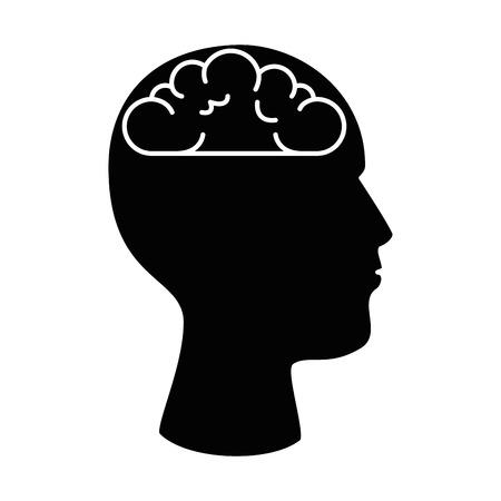 User profile with brain silhouette avatar icon vector illustration design. Illustration