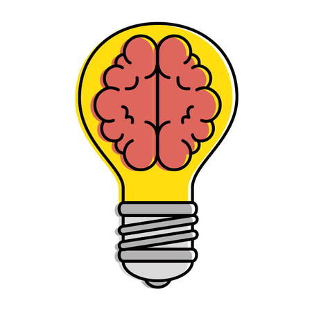Bulb light with brain vector illustration design.