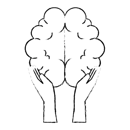 Hands with brain organ isolated icon vector illustration design.