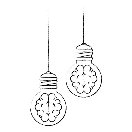 Bulbs light with brains hanging icon vector illustration design.