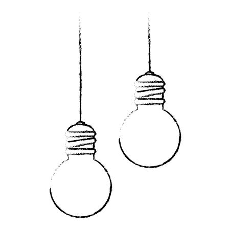 Lumière d'ampoules suspendus design d'icône vector illustration.