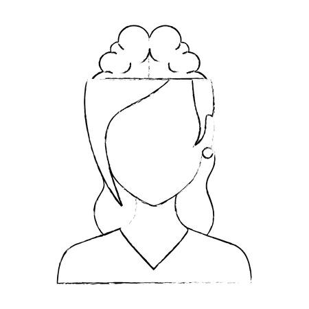Donna con progettazione dell'illustrazione di vettore del carattere dell'avatar del cervello.