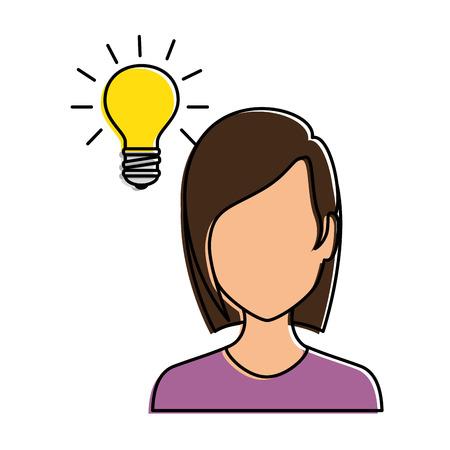 glamorous: Beautiful woman with bulb avatar character vector illustration design. Illustration